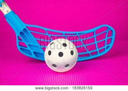 Floor-ball equipment with pink floor, floor ball detail