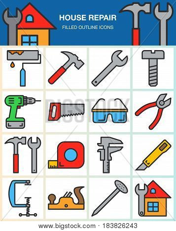 House repair and construction line icons set. Hand tools for home renovation filled outline vector symbol collection linear colorful pictogram pack isolated on white. Signs logo illustration