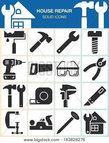 House repair and construction vector icons set Hand tools for home renovation modern solid symbol collection filled pictogram pack isolated on white. Signs logo illustration