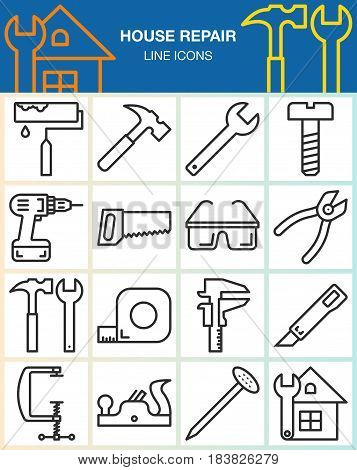 House repair and construction line icons set. Hand tools for home renovation outline vector symbol collection linear pictogram pack isolated on white. Signs logo illustration