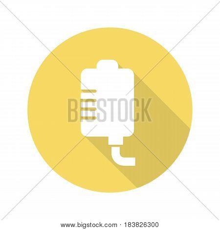 Medicine dropper flat design long shadow icon. Vector silhouette symbol
