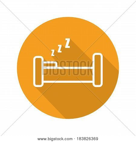 Bed flat linear long shadow icon. Vector line symbol