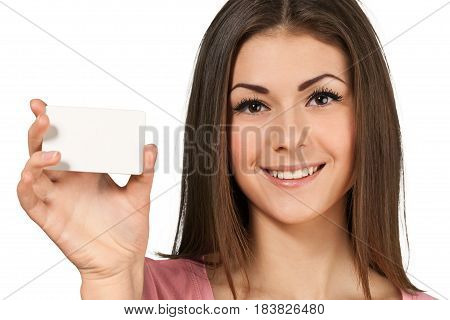 Friendly Young Woman Shows Blank Businesscard - Isolated