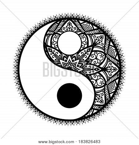 stylized Yin and yang Tao mandala symbol.monochrome Round Ornament Pattern. Paisley background. Vintage decorative oriental symbol of harmony, balance. coloring page for adult