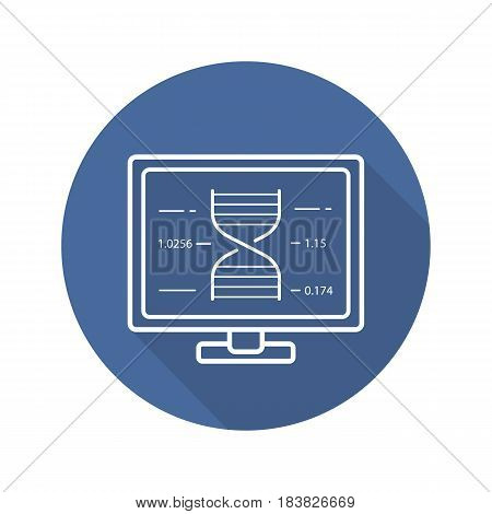 Laboratory computer flat linear long shadow icon. Science project. Molecular structure. Vector line symbol