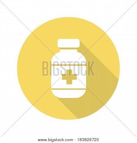 Pills bottle flat design long shadow icon. Medication bottle. Vector silhouette symbol