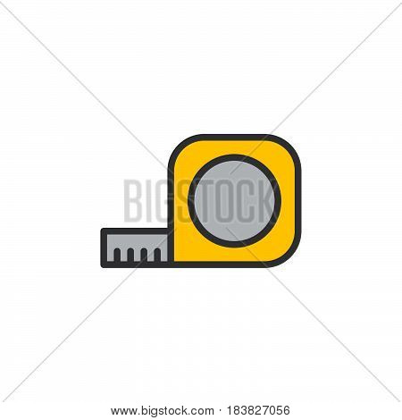 Tape Measure Roll filled outline icon line vector sign linear style pictogram isolated on white. Symbol logo illustration. Editable stroke. Pixel perfect