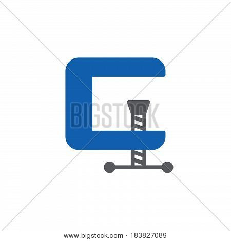 C-clamp colorful vector icon filled flat sign solid pictogram isolated on white. Compress symbol logo illustration. Pixel perfect