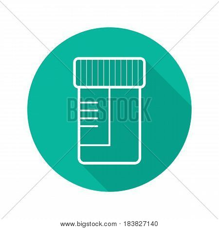Medical tests jar flat linear long shadow icon. Ointment container. Vector line symbol