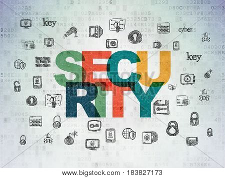 Security concept: Painted multicolor text Security on Digital Data Paper background with  Hand Drawn Security Icons