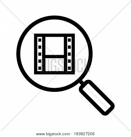 Movie search linear icon. Thin line illustration. Magnifying glass with film strip contour symbol. Vector isolated outline drawing