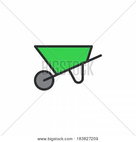 Wheelbarrow filled outline icon line vector sign linear style pictogram isolated on white. Symbol logo illustration. Editable stroke. Pixel perfect
