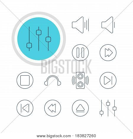 Vector Illustration Of 12 Music Icons. Editable Pack Of Amplifier, Stabilizer, Reversing And Other Elements.