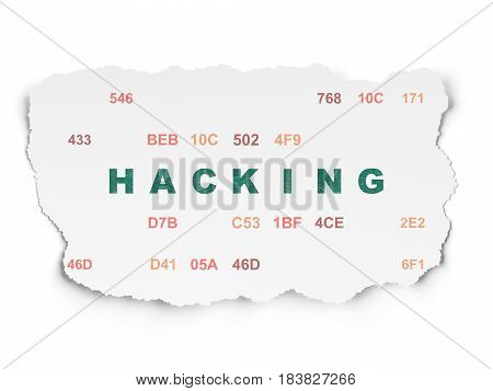 Privacy concept: Painted green text Hacking on Torn Paper background with  Hexadecimal Code