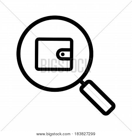 Money search linear icon. Thin line illustration. Magnifying glass with wallet contour symbol. Vector isolated outline drawing