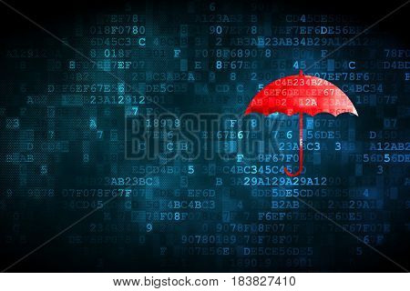 Protection concept: pixelated Umbrella icon on digital background, empty copyspace for card, text, advertising