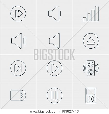 Vector Illustration Of 12 Melody Icons. Editable Pack Of Acoustic, Start, Rewind And Other Elements.