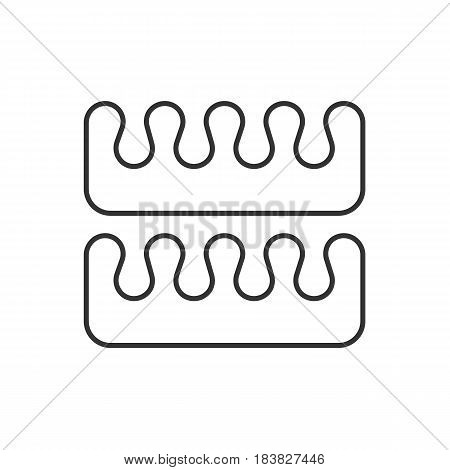 Pedicure toe separators linear icon. Thin line illustration. Contour symbol. Vector isolated outline drawing