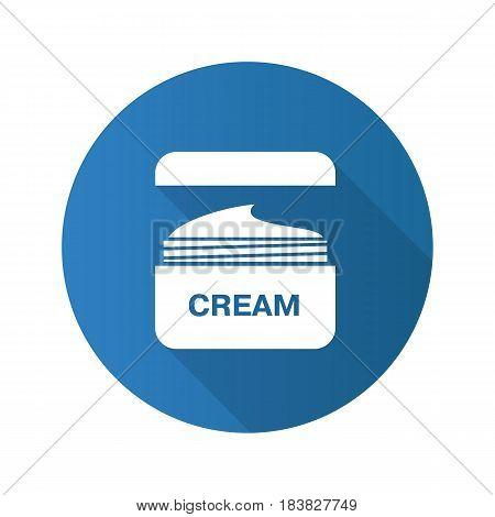 Face cream jar flat design long shadow icon. Cosmetics. Vector silhouette symbol