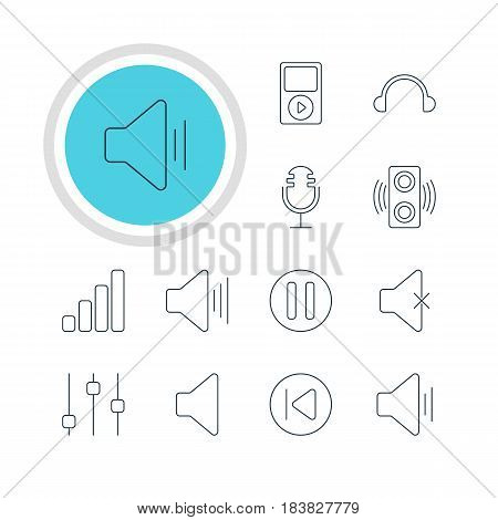 Vector Illustration Of 12 Music Icons. Editable Pack Of Amplifier, Soundless, Volume Up And Other Elements.