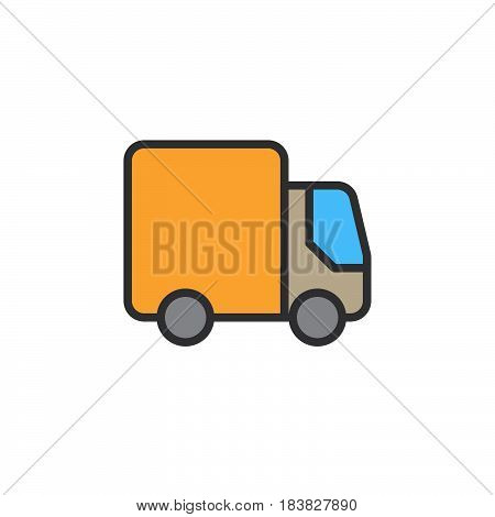 Delivery Shipping truck filled outline icon line colorful vector sign linear style pictogram isolated on white. Lorry symbol logo illustration. Editable stroke. Pixel perfect