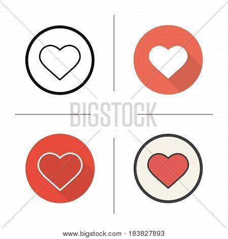 Heart shape icon. Flat design, linear and color styles. Love and Valentine's Day sign. Isolated vector illustrations