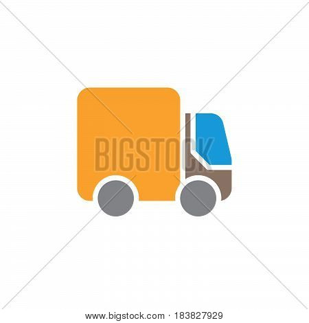 Delivery Shipping truck colorful vector icon filled flat sign solid pictogram isolated on white. Lorry symbol logo illustration. Pixel perfect