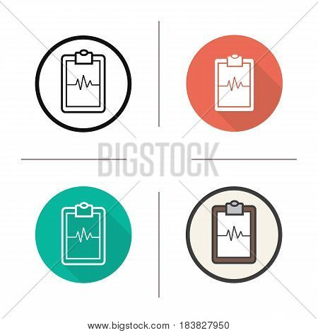 Cardiogram clipboard icon. Flat design, linear and color styles. Heart monitor. Ecg. Isolated vector illustrations