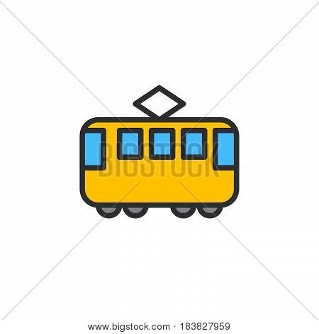 Tram filled outline icon line colorful vector sign linear style pictogram isolated on white. Streetcar symbol logo illustration. Editable stroke. Pixel perfect