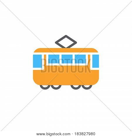 Tram colorful vector icon filled flat sign solid pictogram isolated on white. Streetcar symbol logo illustration. Pixel perfect