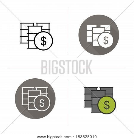 Oil barrels icon. Flat design, linear and color styles. Petrol trade. Oil market. Isolated vector illustrations