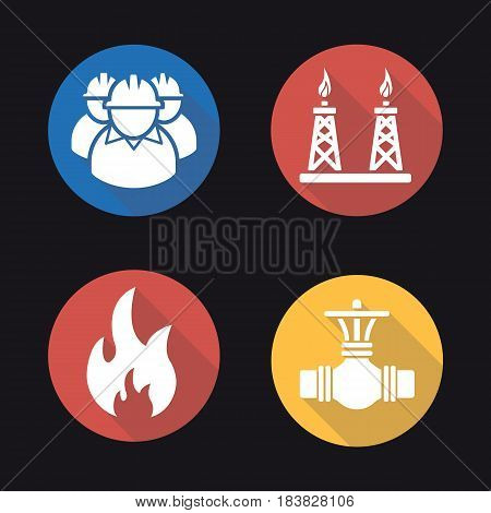 Gas industry flat design long shadow icons set. Industrial workers, pipeline valve, flammable sign, gas platform. Vector silhouette illustration