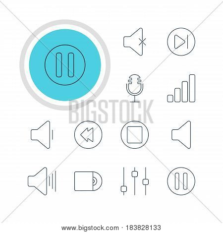 Vector Illustration Of 12 Music Icons. Editable Pack Of Compact Disk, Volume Up, Lag And Other Elements.