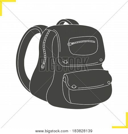 School backpack glyph illustration. Schoolbag silhouette symbol. Student rucksack. Negative space. Vector isolated icon