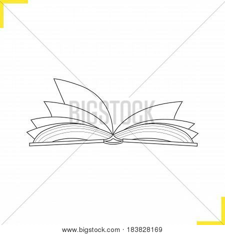 Open book linear illustration. Thin line icon. Open textbook contour symbol. Vector isolated outline drawing