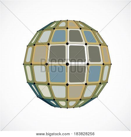Abstract 3D Faceted Figure With Connected Black Lines And Dots. Vector Low Poly Colorful Design Elem