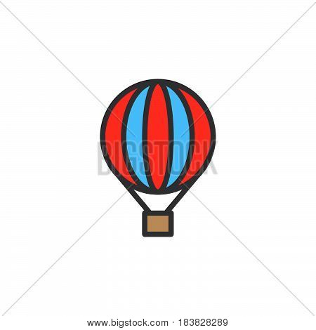Hot air balloon filled outline icon line colorful vector sign linear style pictogram isolated on white. Symbol logo illustration. Editable stroke. Pixel perfect