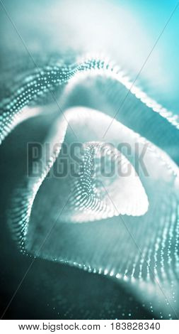 Dust particles floating in 3d space with shallow depth of field settings. Macro look. Blue abstract science, technology and engineering background. 3D rendering.