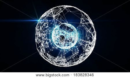 Animated abstract concentric two spheres formed by plexus connected white dots and blue lines and light. Shallow depth of field settings. 3D rendering.