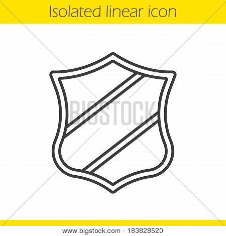 Shield with ribbon linear icon. Thin line illustration. Contour symbol. Vector isolated outline drawing
