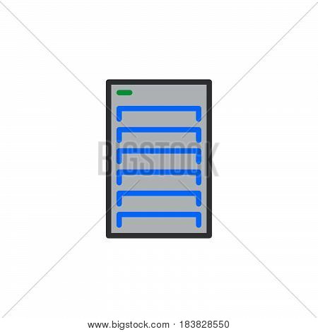 Server line icon filled outline vector sign linear colorful pictogram isolated on white. Symbol logo illustration. Editable stroke. Pixel perfect