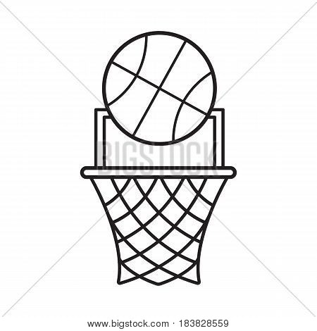 Basketball point linear icon. Thin line illustration. Basketball hoop and ball contour symbol. Vector isolated outline drawing