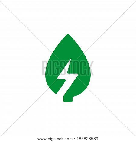 Leaf with lightning bolt icon vector filled flat sign solid colorful pictogram isolated on white. Green energy symbol logo illustration. Pixel perfect