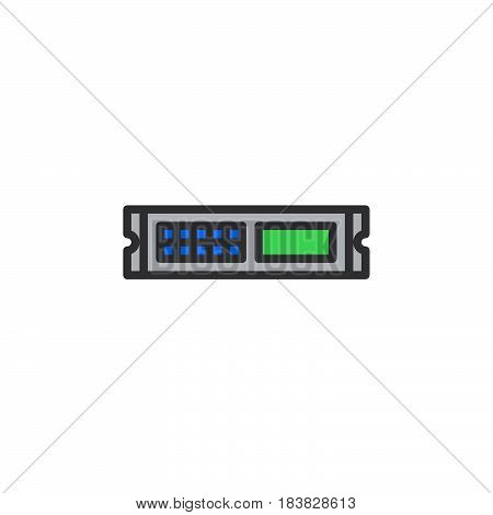 Rack unit server line icon filled outline vector sign linear colorful pictogram isolated on white. Symbol logo illustration. Editable stroke. Pixel perfect