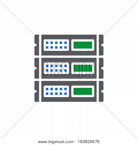 Rack units servers icon vector filled flat sign solid colorful pictogram isolated on white. Symbol logo illustration. Pixel perfect
