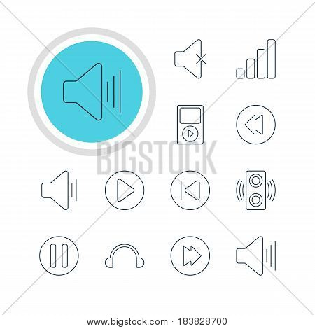Vector Illustration Of 12 Melody Icons. Editable Pack Of Mp3, Reversing, Acoustic And Other Elements.