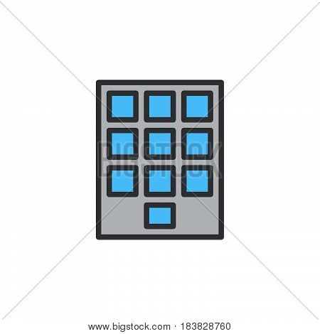 Numeric keypad line icon filled outline vector sign linear colorful pictogram isolated on white. Symbol logo illustration. Editable stroke. Pixel perfect