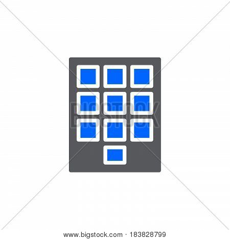 Numeric keypad icon vector filled flat sign solid colorful pictogram isolated on white. Symbol logo illustration. Pixel perfect
