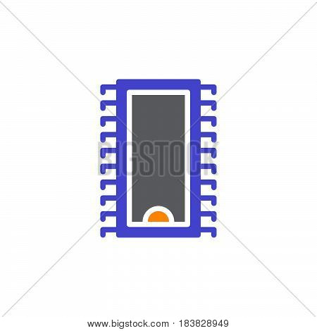 Integrated circuit microchip icon vector filled flat sign solid colorful pictogram isolated on white. Symbol logo illustration. Pixel perfect