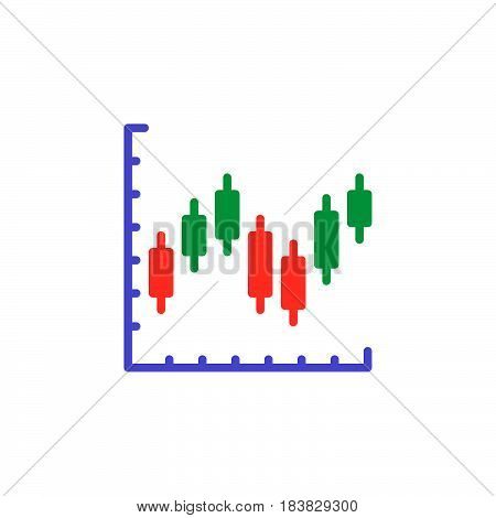 Candlestick chart icon vector filled flat sign solid colorful pictogram isolated on white. Symbol logo illustration. Pixel perfect